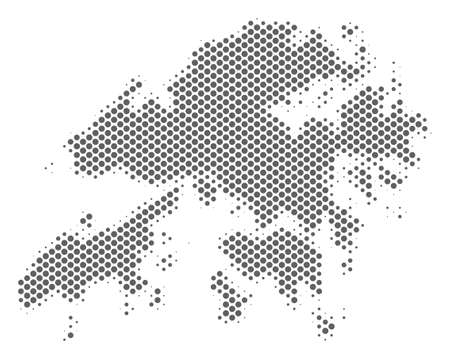 Schematic Hong Kong map. Vector halftone territorial scheme. Grey pixelated cartographic composition. Abstract Hong Kong map is formed from regular spheric cell mosaic.