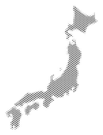 Schematic Japan map. Vector halftone territory scheme. Gray pixelated cartographic concept. Abstract Japan map is designed from regular sphere cell pattern.