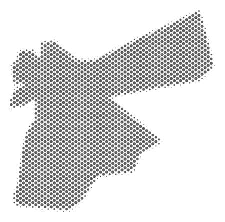 Schematic Jordan map. Vector halftone geographic abstraction. Grey pixel cartographic concept. Abstract Jordan map is composed of regular spheric spot matrix.