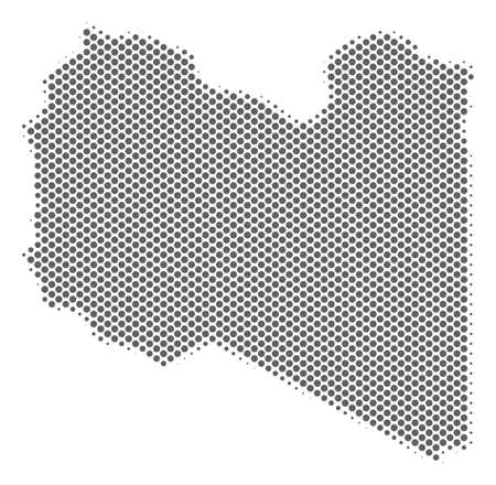 Schematic Libya map. Vector halftone geographical plan. Grey dotted cartographic concept. Abstract Libya map is made with regular sphere element mosaic. Illustration