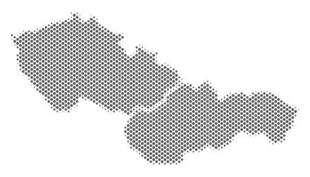 Schematic Czechoslovakia map. Vector halftone territorial scheme. Gray dotted cartographic concept. Abstract Czechoslovakia map is created with regular spheric point array.