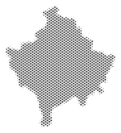 Schematic Kosovo map. Vector halftone territorial plan. Gray dotted cartographic composition. Abstract Kosovo map is formed from regular spheric element matrix.