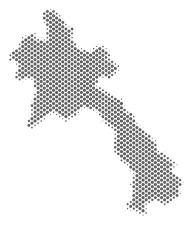 Schematic Laos map. Vector halftone territory scheme. Grey pixel cartographic composition. Abstract Laos map is designed from regular round element grid. Illustration