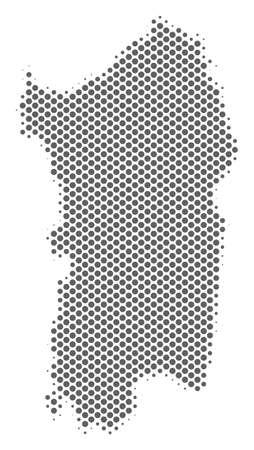 Schematic Italian Sardinia Island map. Vector halftone territorial scheme. Grey pixel cartographic composition. Abstract Italian Sardinia Island map is shaped of regular round dot grid.