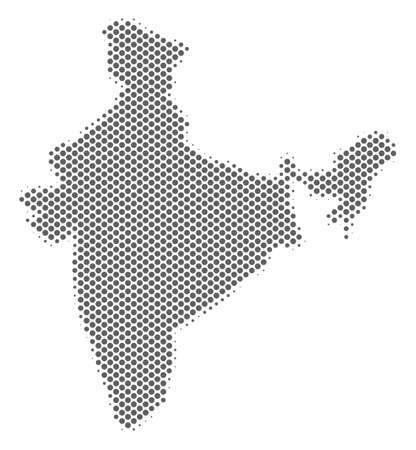 Schematic India map. Vector halftone territorial plan. Grey pixelated cartographic concept. Abstract India map is formed of regular circle element pattern.