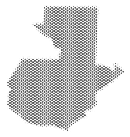Schematic Guatemala map. Vector halftone geographical abstraction. Grey pixel cartographic composition. Abstract Guatemala map is designed with regular round spot mosaic.