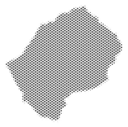 Schematic Lesotho map. Vector halftone territory abstraction. Gray dot cartographic concept. Abstract Lesotho map is formed from regular spheric point mosaic.
