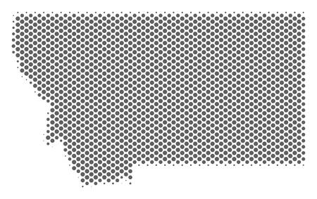 Schematic Montana State map. Vector halftone geographic plan. Silver dotted cartographic concept. Abstract Montana State map is formed from regular sphere item matrix.