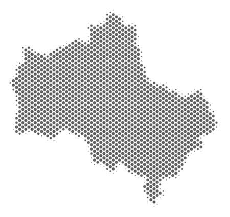Schematic Moscow Oblast map. Vector halftone territory abstraction. Gray pixel cartographic composition. Abstract Moscow Oblast map is shaped with regular sphere point pattern.