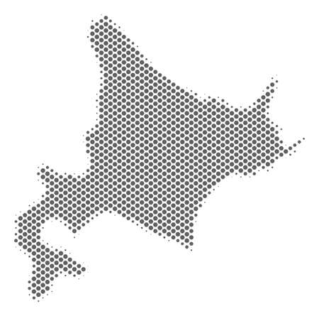 Schematic Hokkaido Island map. Vector halftone territory scheme. Grey dot cartographic concept. Abstract Hokkaido Island map is constructed from regular spheric item matrix.