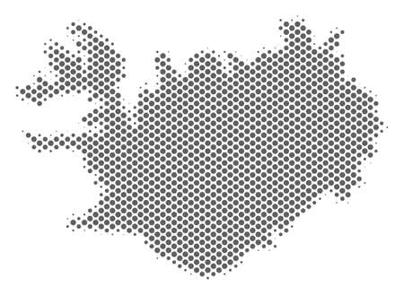 Schematic Iceland map. Vector halftone geographic scheme. Grey dot cartographic composition. Abstract Iceland map is constructed with regular sphere cell grid.