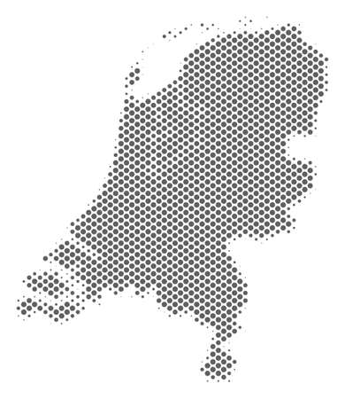 Schematic Netherlands map. Vector halftone geographic plan. Silver pixel cartographic concept. Abstract Netherlands map is formed from regular round cell matrix. Illustration