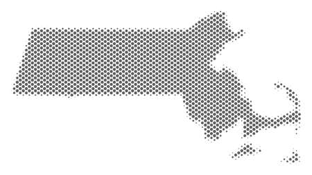 Schematic Massachusetts State map. Vector halftone territory plan. Grey dotted cartographic composition. Abstract Massachusetts State map is shaped of regular round cell array.
