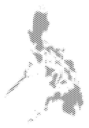 Schematic Philippines map. Vector halftone geographical scheme. Gray pixel cartographic concept. Abstract Philippines map is formed of regular spheric dot matrix.