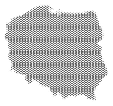 Schematic Poland map. Vector halftone territorial abstraction. Gray pixel cartographic composition. Abstract Poland map is composed with regular round item array.