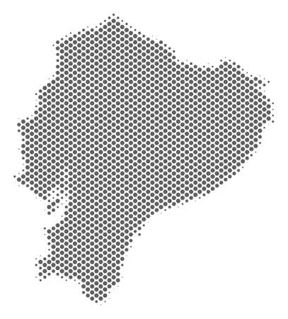 Schematic Ecuador map. Vector halftone territorial scheme. Silver dotted cartographic composition. Abstract Ecuador map is created with regular sphere element grid.