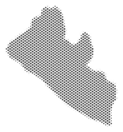 Schematic Liberia map. Vector halftone territorial scheme. Grey pixel cartographic composition. Abstract Liberia map is designed from regular round dot mosaic. Ilustrace