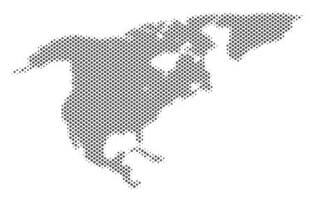 Schematic North America map. Vector halftone geographical plan. Grey dotted cartographic concept. Abstract North America map is composed from regular circle spot pattern. Illustration