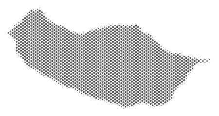 Schematic Portugal Madeira Island map. Vector halftone territory plan. Silver pixelated cartographic composition. Abstract Portugal Madeira Island map is formed of regular sphere element matrix. Banco de Imagens - 101402066