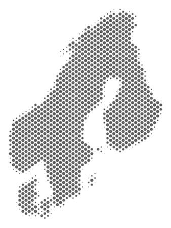 Schematic Scandinavia map. Vector halftone geographical plan. Grey dot cartographic composition. Abstract Scandinavia map is designed from regular circle point array. Ilustracja