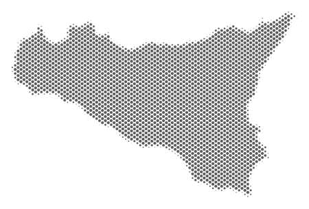 Schematic Sicilia map. Vector halftone geographic scheme. Gray pixel cartographic concept. Abstract Sicilia map is constructed from regular spheric item grid.