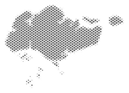 Schematic Singapore map. Vector halftone territorial scheme. Grey pixel cartographic composition. Abstract Singapore map is done of regular circle point matrix.
