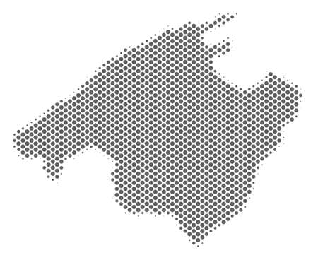 Schematic Spain Mallorca Island map. Vector halftone territory plan. Gray dotted cartographic concept. Abstract Spain Mallorca Island map is composed of regular sphere item array.