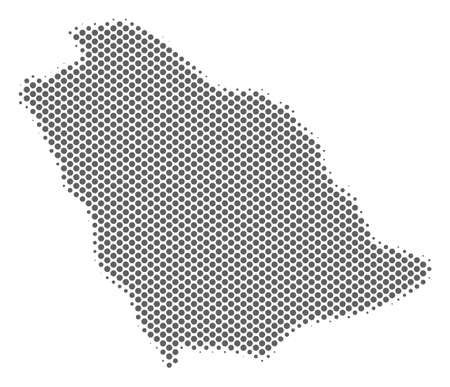Schematic Saudi Arabia map. Vector halftone geographic plan. Gray dotted cartographic concept. Abstract Saudi Arabia map is constructed of regular circle dot grid.