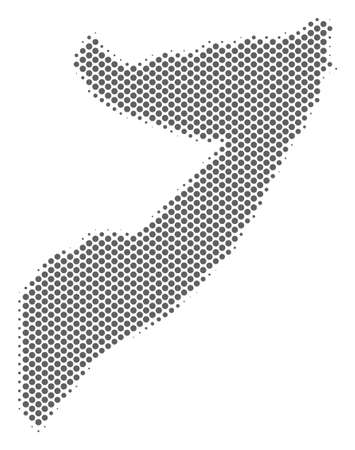 Schematic Somalia map. Vector halftone territory scheme. Silver dotted cartographic concept. Abstract Somalia map is created with regular round cell matrix. Illustration