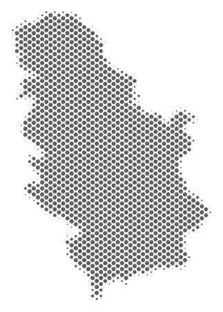 Schematic Serbia map. Vector halftone geographical abstraction. Grey dotted cartographic composition. Abstract Serbia map is formed of regular round cell matrix.