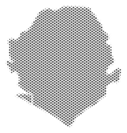 Schematic Sierra Leone map. Vector halftone territorial scheme. Silver pixelated cartographic composition. Abstract Sierra Leone map is created of regular round spot pattern.