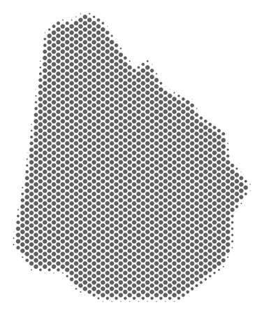Schematic Uruguay map. Vector halftone geographic abstraction. Grey dotted cartographic composition. Abstract Uruguay map is composed of regular round point grid.