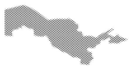 Schematic Uzbekistan map. Vector halftone geographic scheme. Silver dotted cartographic concept. Abstract Uzbekistan map is created of regular spheric point grid.