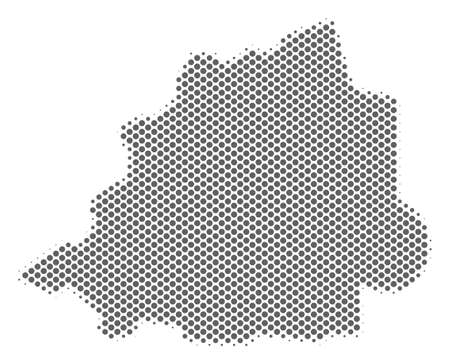 Schematic Vatican map. Vector halftone territorial scheme. Gray dot cartographic composition. Abstract Vatican map is shaped from regular sphere cell matrix.