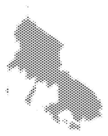 Schematic Skyros Greek Island map. Vector halftone geographical abstraction. Silver dot cartographic concept. Abstract Skyros Greek Island map is constructed of regular round spot grid.