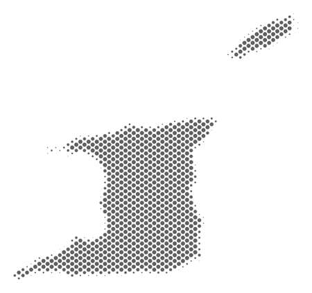 Schematic Trinidad and Tobago map. Vector halftone geographic abstraction. Grey pixelated cartographic concept. Abstract Trinidad and Tobago map is composed with regular sphere item mosaic.