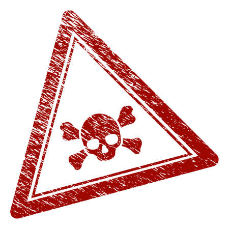 Skull death triangle rubber stamp seal. Vector element with distress style and dust texture in red color. Designed for overlay watermarks and distressed seal prints.