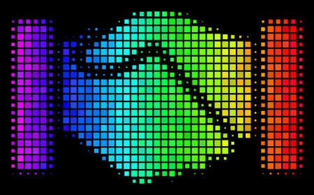 Pixelated impressive halftone acquisition handshake icon drawn with spectrum color variations with horizontal gradient on a black background.