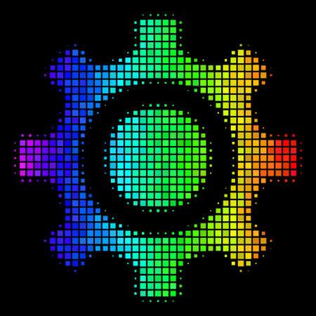 Pixelated impressive halftone cogwheel icon using rainbow color tints with horizontal gradient on a black background. Bright vector mosaic of cogwheel illustration created of rectangular matrix cells.