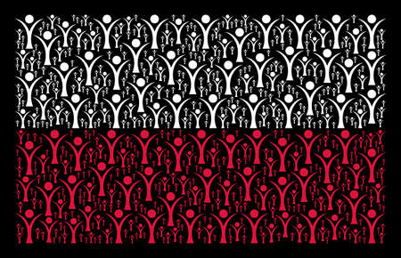 Poland National Flag composition designed with abstract man elements. Flat vector abstract man icons are combined into mosaic Poland flag composition on a black background.