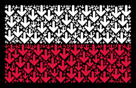 Poland National Flag pattern created with arrow down pictograms. Flat vector arrow down icons are united into geometric Poland flag illustration on a black background. Illustration