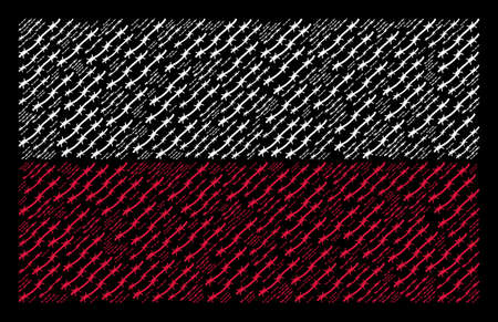 Poland National Flag composition combined with barbed wire pictograms. Flat vector barbed wire symbols are composed into mosaic Polish flag composition on a black background.