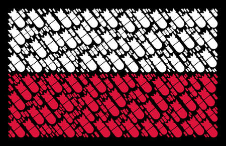 Poland Flag pattern organized of aviation bomb pictograms. Flat vector aviation bomb icons are organized into geometric Poland flag composition on a black background.