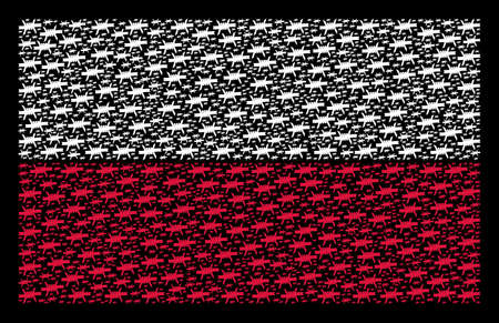 Polish State Flag concept done of barbed wire elements. Flat vector barbed wire icons are arranged into mosaic Poland flag abstraction on a black background. Archivio Fotografico - 101442748