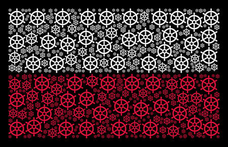Poland National Flag composition formed of boat steering wheel pictograms. Flat vector boat steering wheel symbols are organized into geometric Poland flag abstraction on a black background.