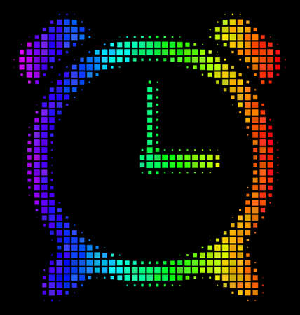 Dotted bright halftone alarm clock icon in spectrum color tinges with horizontal gradient on a black background. Multicolored vector concept of alarm clock illustration formed with rectangular cells.