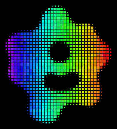 Dotted bright halftone amoeba icon using spectrum color tints with horizontal gradient on a black background. Colorful vector collage of amoeba pictogram done from rectangle array cells.