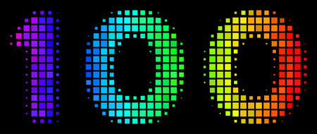 Pixel impressive halftone 100 text icon drawn with spectrum color shades with horizontal gradient on a black background. Colorful vector mosaic of 100 text symbol designed of rectangular cells. 일러스트