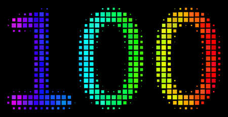 Pixelated bright halftone 100 text icon in rainbow color shades with horizontal gradient on a black background. Colorful vector concept of 100 text illustration designed from rectangle items. 일러스트