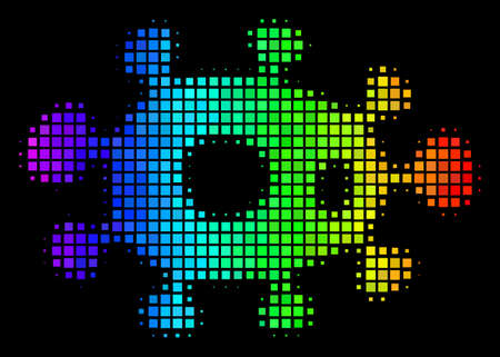 Pixel impressive halftone bacteria icon using spectral color shades with horizontal gradient on a black background. Multicolored vector collage of bacteria illustration made with square dots.